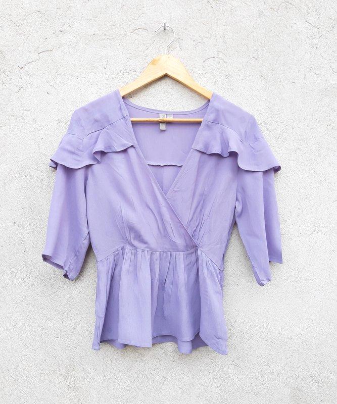 ASOS 38/40 fioletowa bluzka falbany lila casual