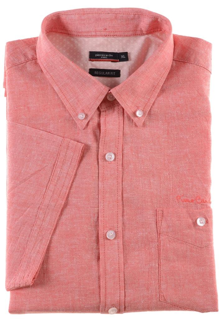 PIERRE CARDIN koszula z lnem krótki rękaw XL k 43