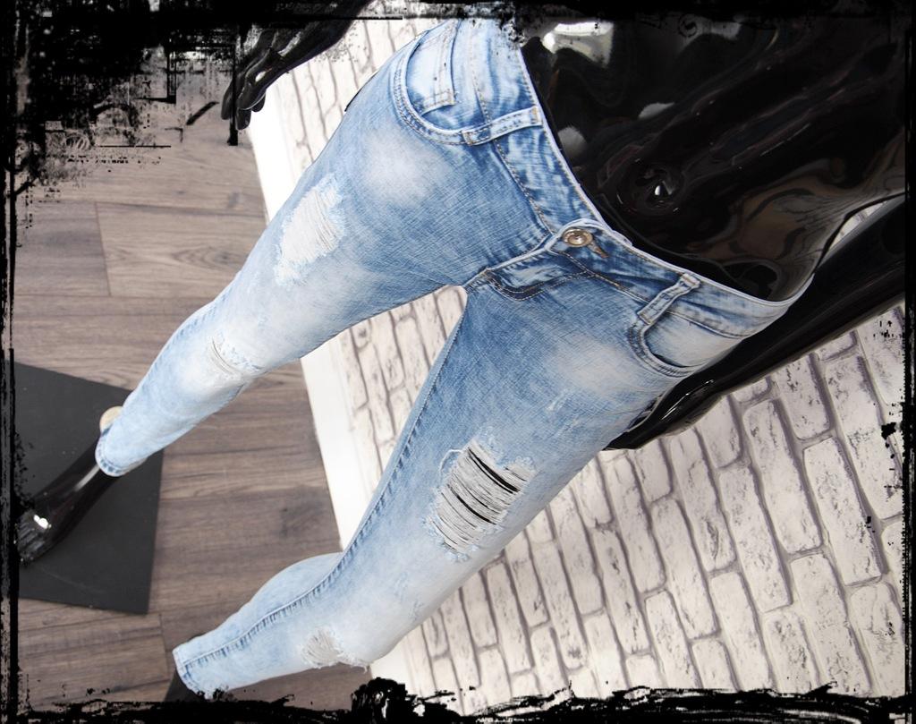 spodnie damskie jeansy jasne dziury 36 s 11dzinsy