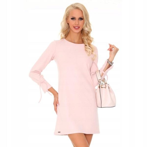 Walentynki- pudrowo różowa sukienka rozmiar M