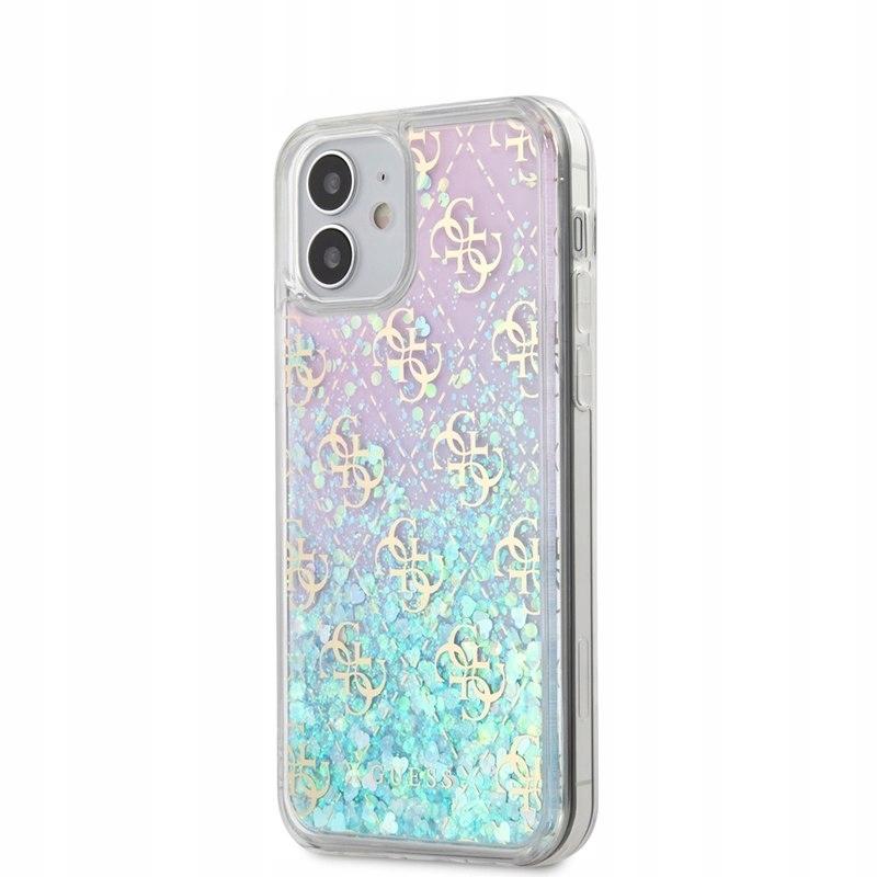 Guess 4G Liquid Glitter - Etui iPhone 12 Mini (róż