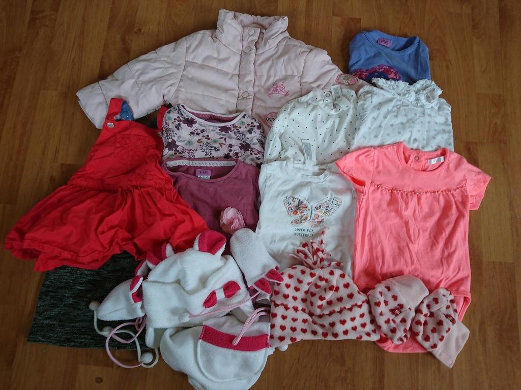 Ubranka dla dziewczynki 80 kurtka, czapka, szalik