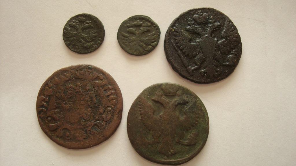 Zestaw 5 monet stara Rosja miedź