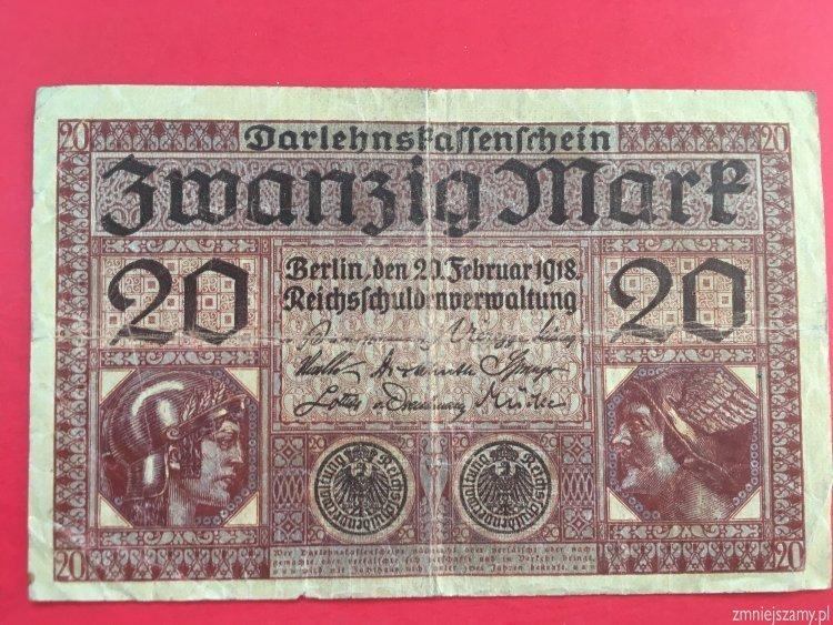 Niemcy - Oryginalne 20 marek z 1918 roku seria X