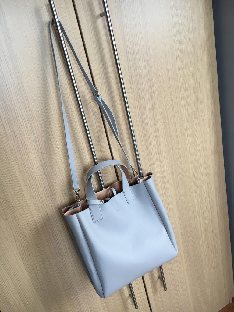 Shopper ZARA szara torba dwustronna z kosmetyczką