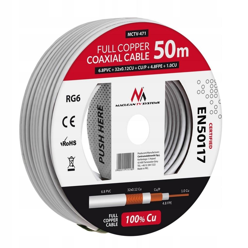 MACLEAN Kabel Koncentryczny RG6 50m MCTV-471