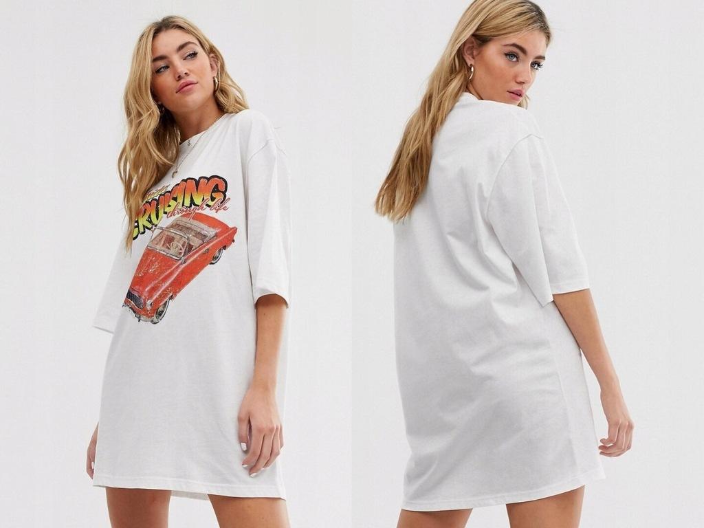 Boohoo biały t-shirt sukienka print S/36