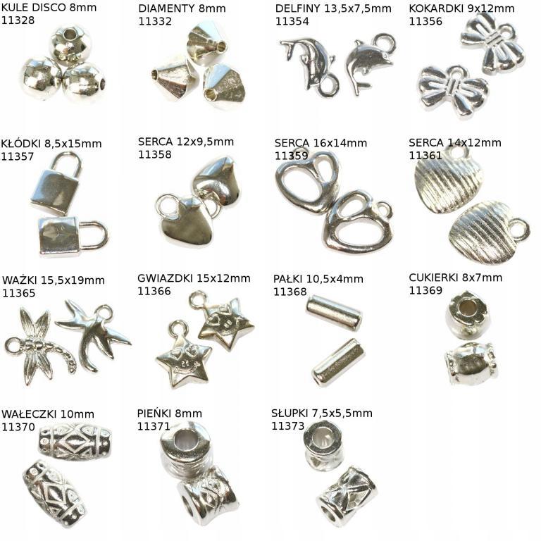 Koraliki plastikowe srebrne 10szt. 0,30zł/szt.