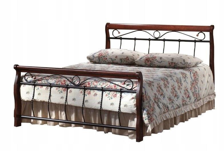 Łóżko małżeńskie drewno Antyczna Czereśnia Czarne