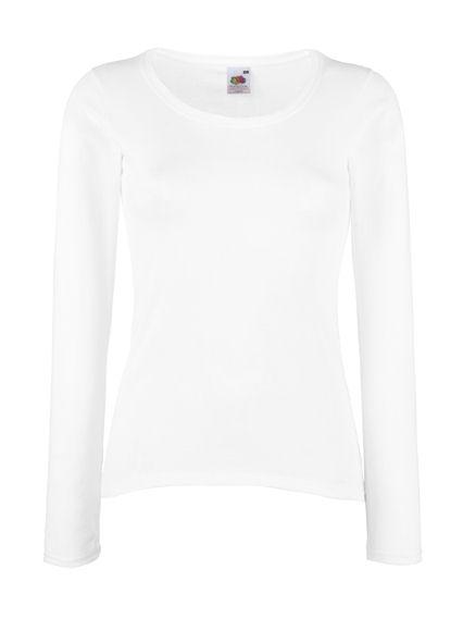 Ladies FRUIT Valueweught Long Sleeve White XL