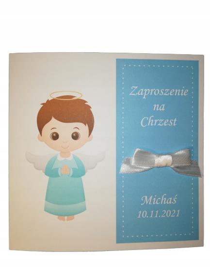 Chłopiec-Zaproszenia na Chrzest Aniołek