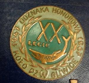 Odznaka Wędkarska PZW 20 l honorowa 1967 Gliwice