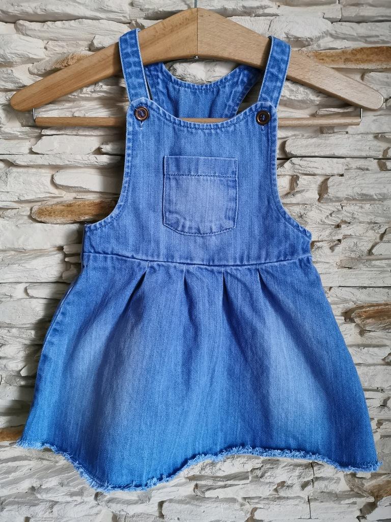 Sukienka jeansowa #ogrodniczka 18-24 M 86-92 cm