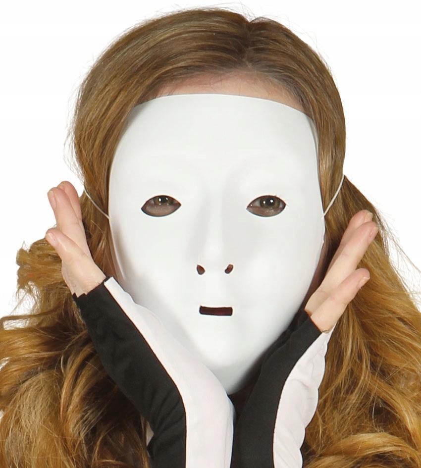 Maska biała plastikowa halloween akcesoria party