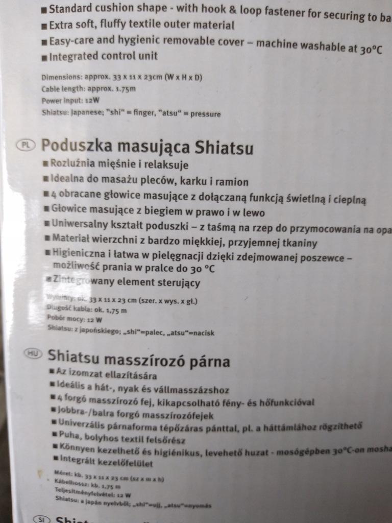 Poduszka masująca SHIATSU Silver Crest 8402501106