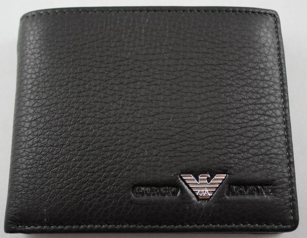 Skórzany czarny portfel Armani