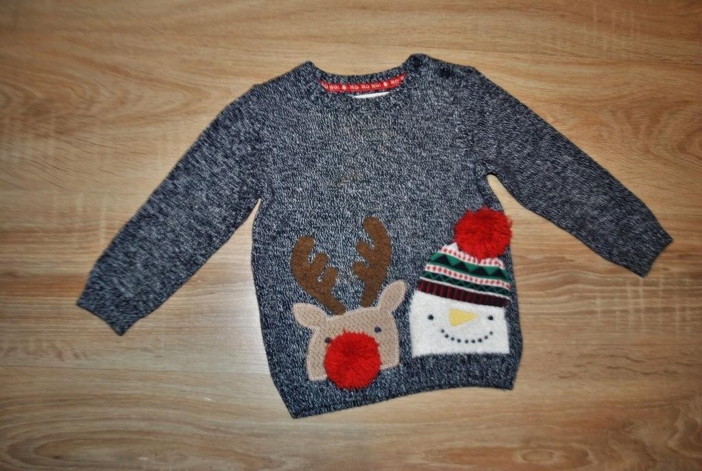F&F świąteczny sweterek RENIFEREK 92 BDB