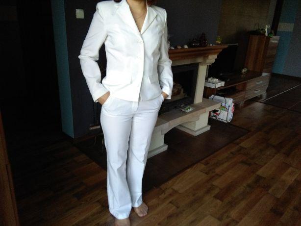 Spodnium BonPrix 38 marynarka+spodnie łamana biel