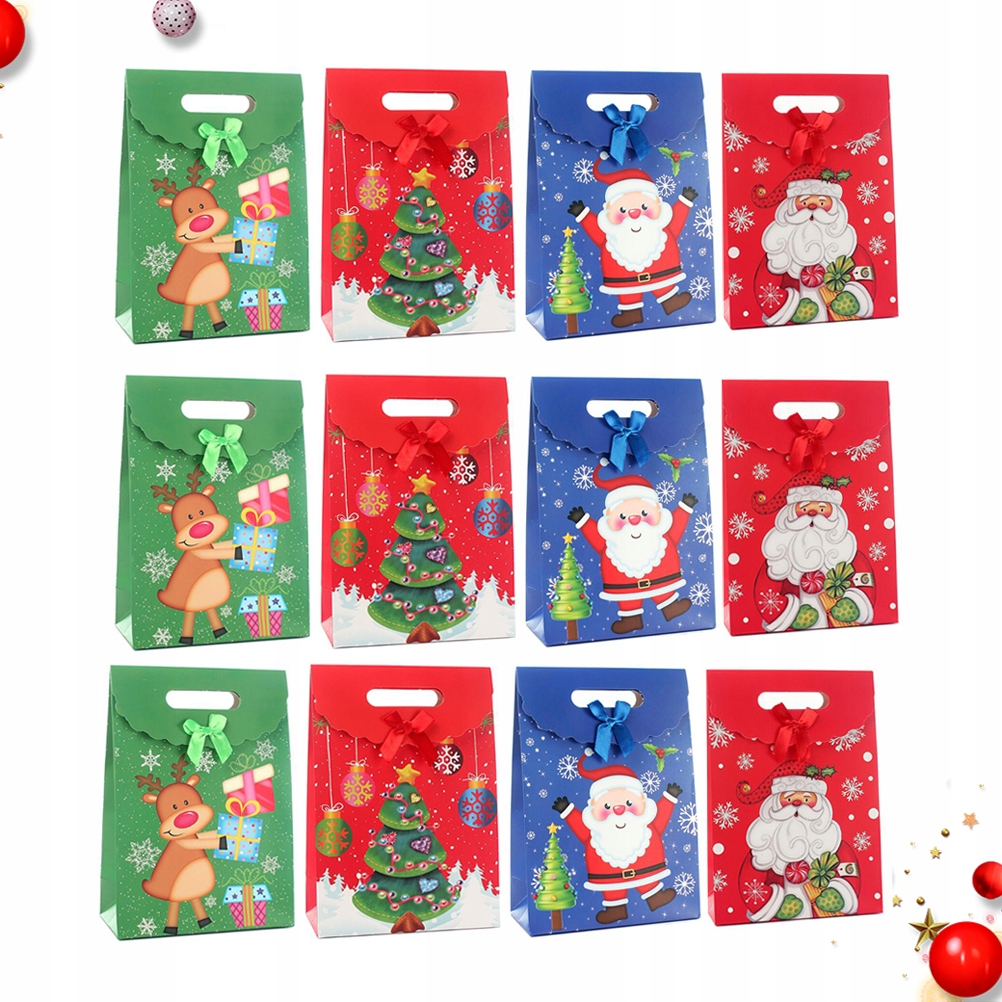 12 Pcs Santa Claus's Birthday Gift Packing Bag Chr