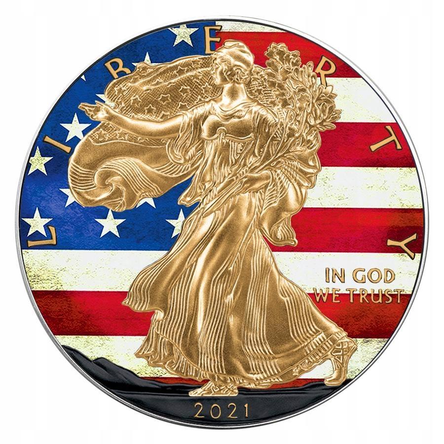 AMERYKAŃSKI ORZEŁ FLAGA USA SREBRO NAKŁAD 50 SZT.