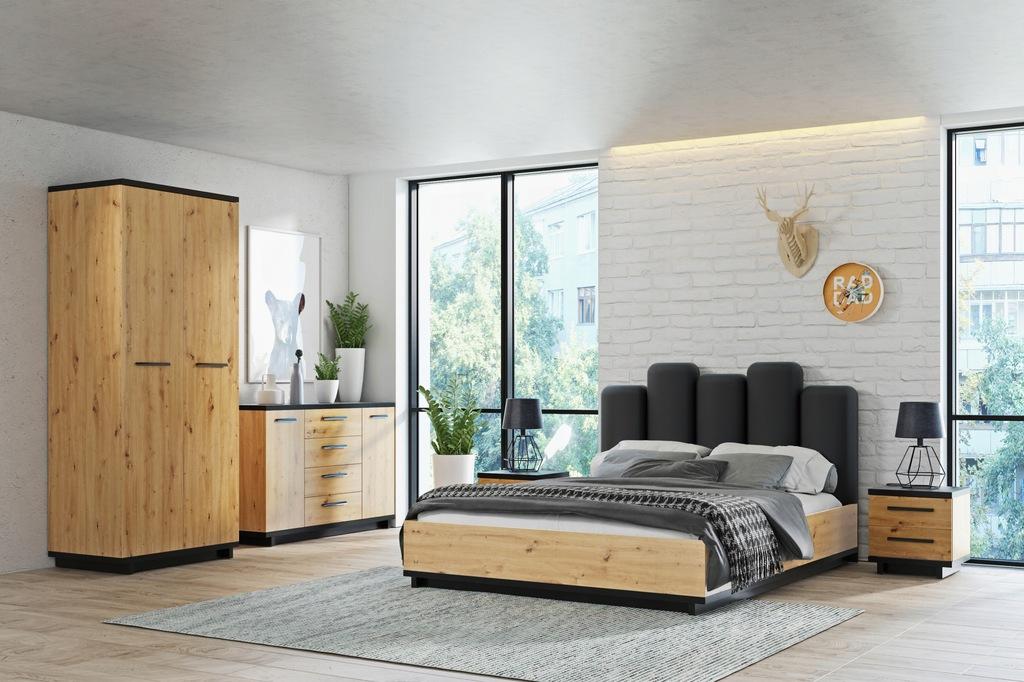 Sypialnia INES 1 stylowe meble dąb + czarny mat