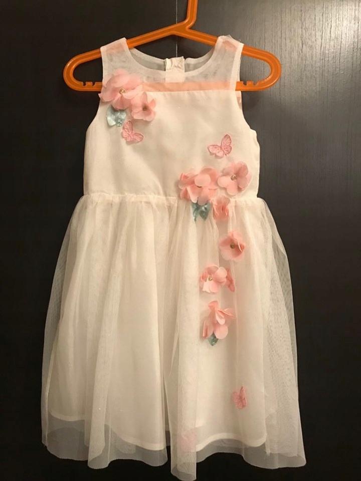 H&M sukienka tiul TIULOWA kwiaty 3D brokat 116