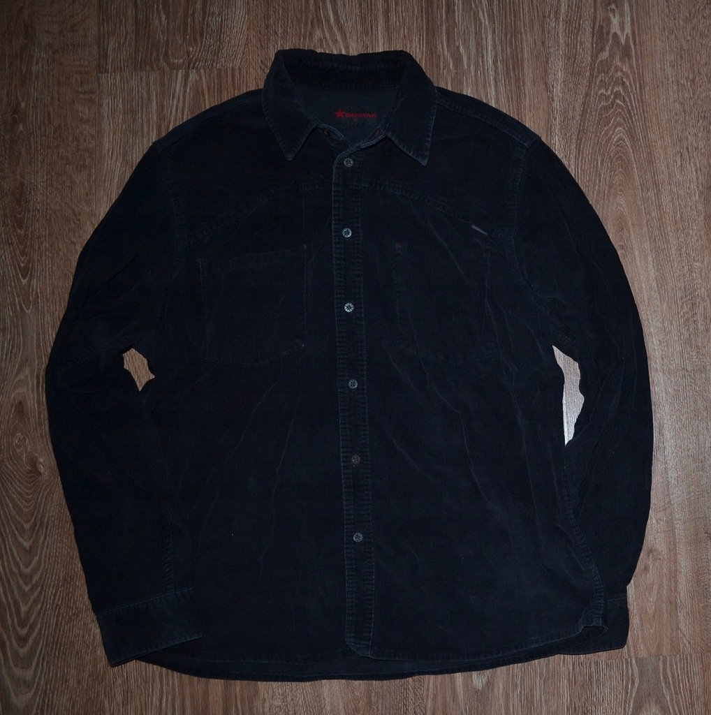 BIG STAR koszula czarna sztruks LOGO! XL