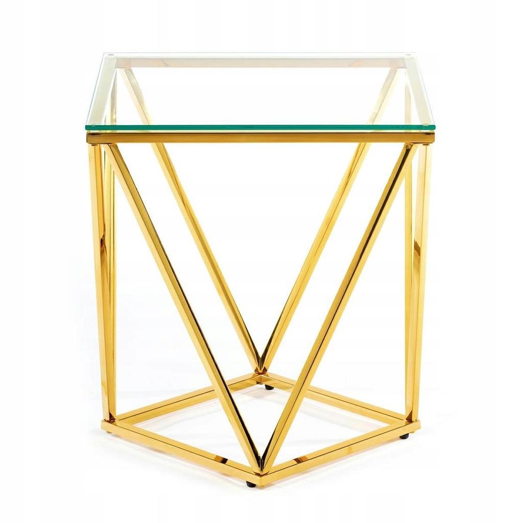 Biurowy złoty stolik kawowy Diamanta Gold 50 cm