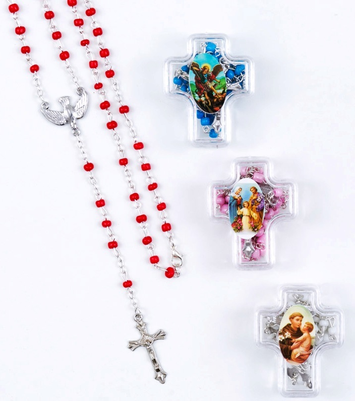 Piękny MINI Różaniec pudełko krzyżyk Duch święty