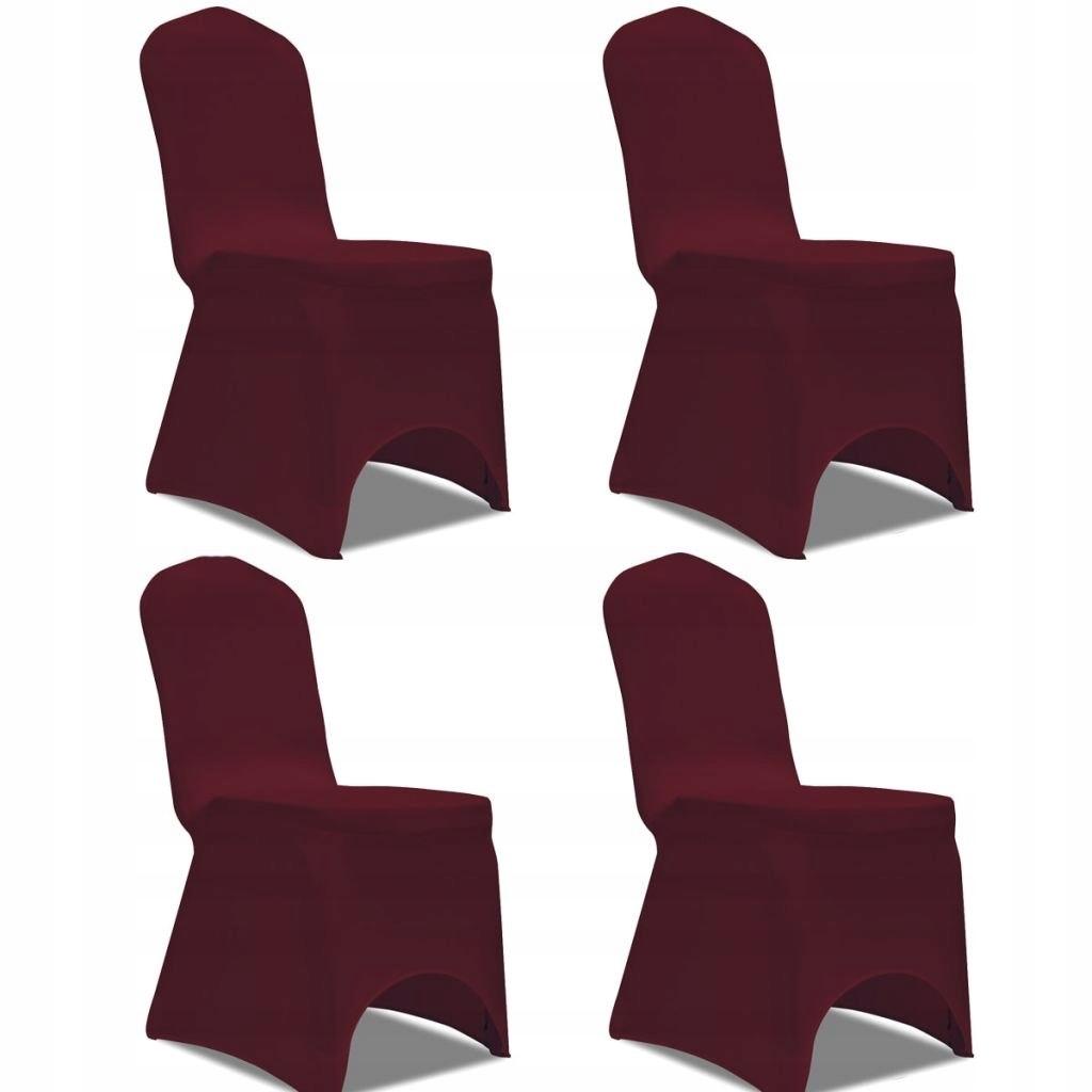 Elastyczne pokrowce na krzesło bordowe 4 szt.