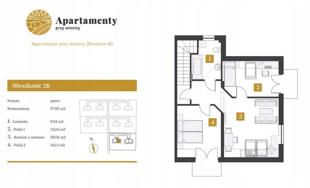 Mieszkanie, Buski (pow.), 58 m²
