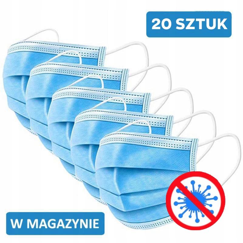 20 x MASKA 3-WARSTWOWA OCHRONNA MASECZKA MEDYCZNA