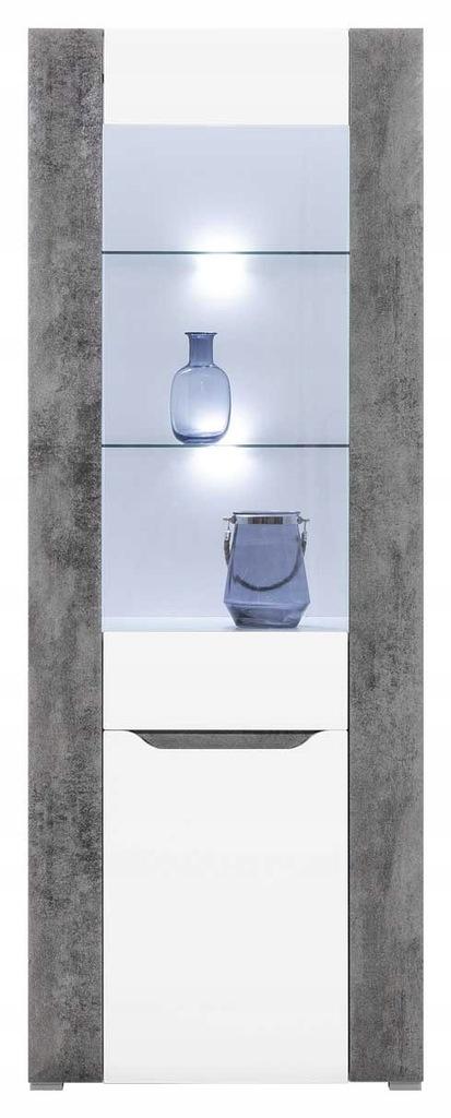 Witryna LED BRANDO Biały Połysk/Beton BOGFRAN