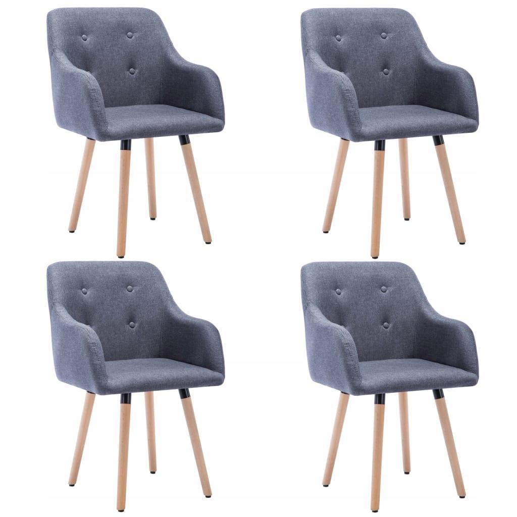 VidaXL 4 krzesła do jadalni obite tkaniną, ciemnoszare