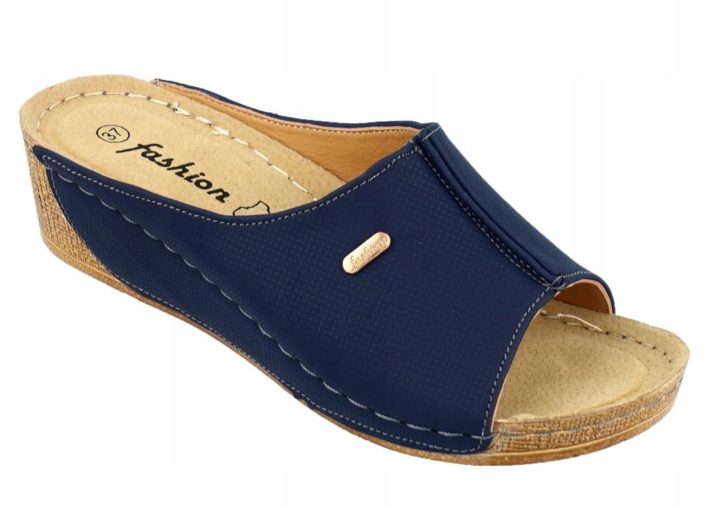 granatowe zdrowotne buty damskie letnie i eleganckie