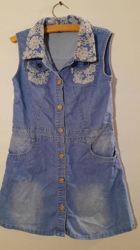 Dżinsowa sukienka szmizjerka 140-146