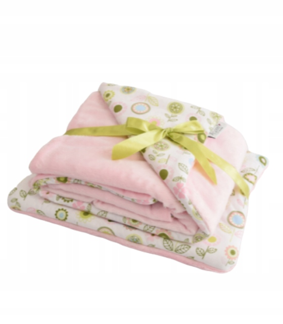 Dwustronny kocyk Minky Kwiaty + poduszka różowy
