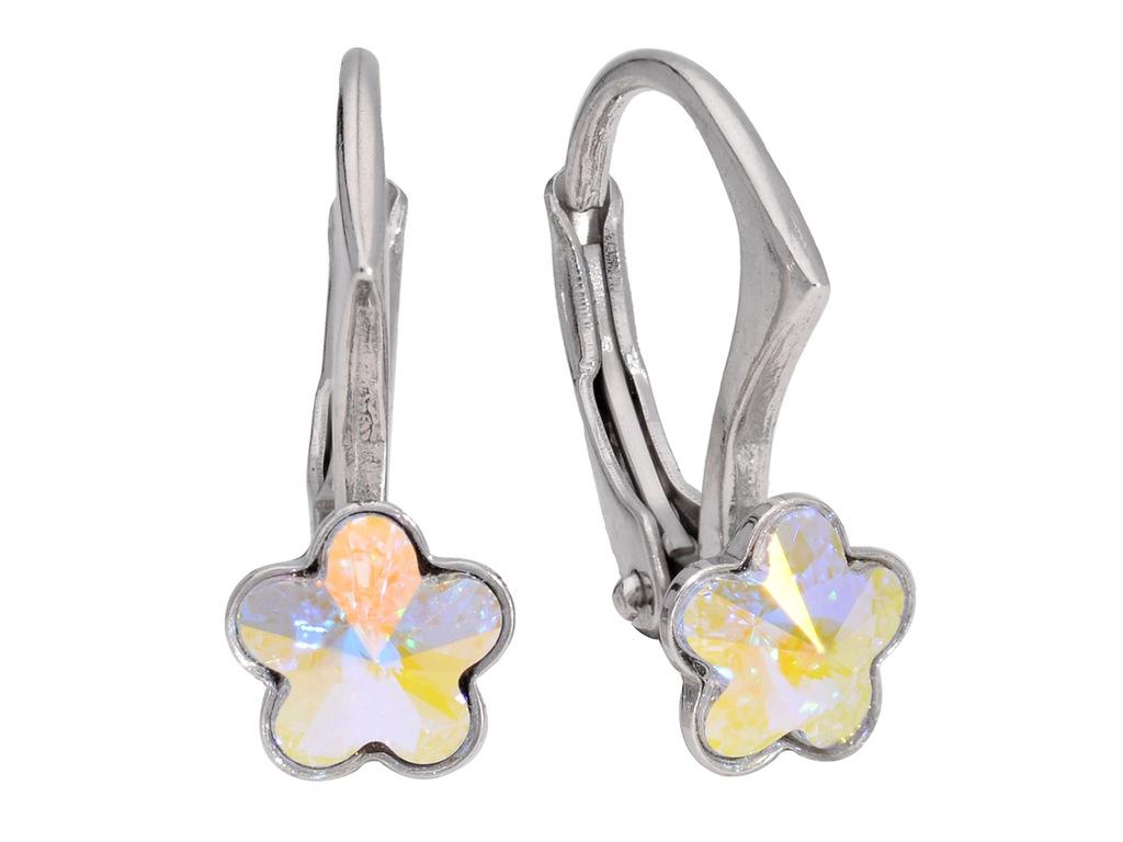 Kolczyki srebro tęczowy kwiat kryształ Swarovski