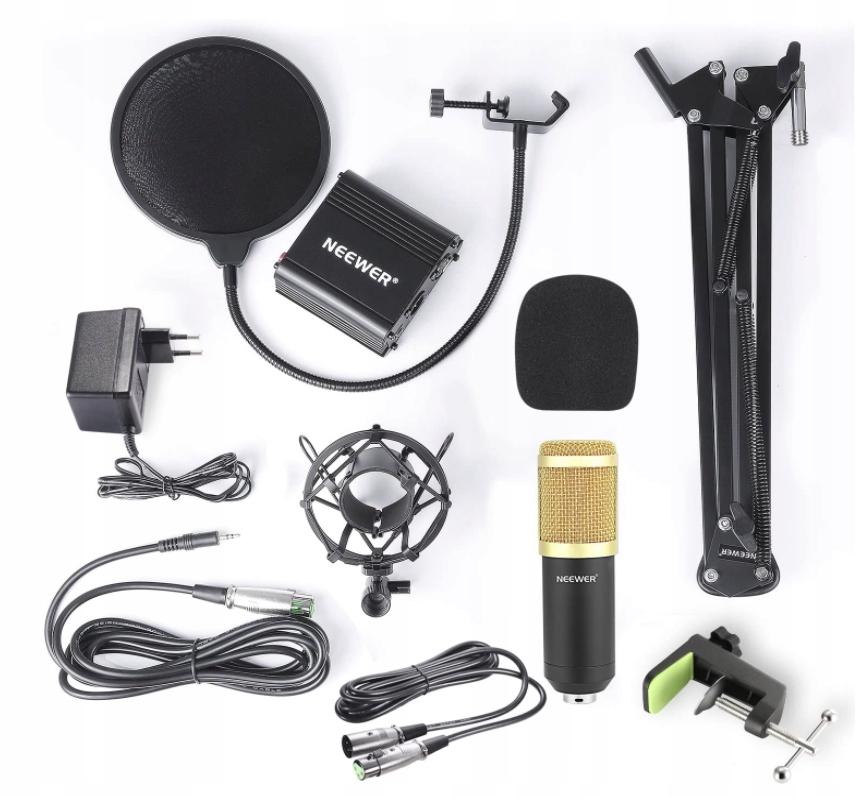 Neewer NW-800 mikrofon pojemnościowy + ZESTAW 48 V