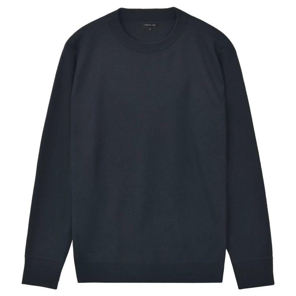 Sweter Męski, Okrągły Dekolt, Navy, Rozmiar XL