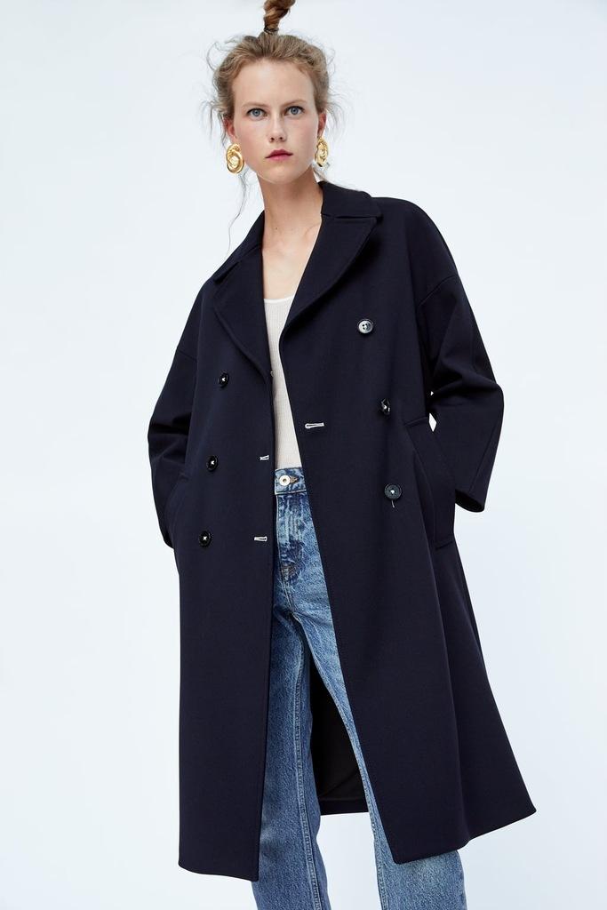 płaszcz zara niebieski wełna