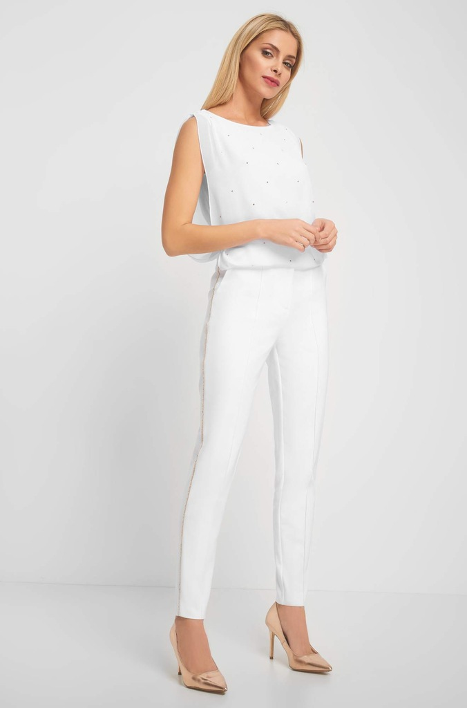 ORSAY białe spodnie cygaretki z łańcuszkiem 40