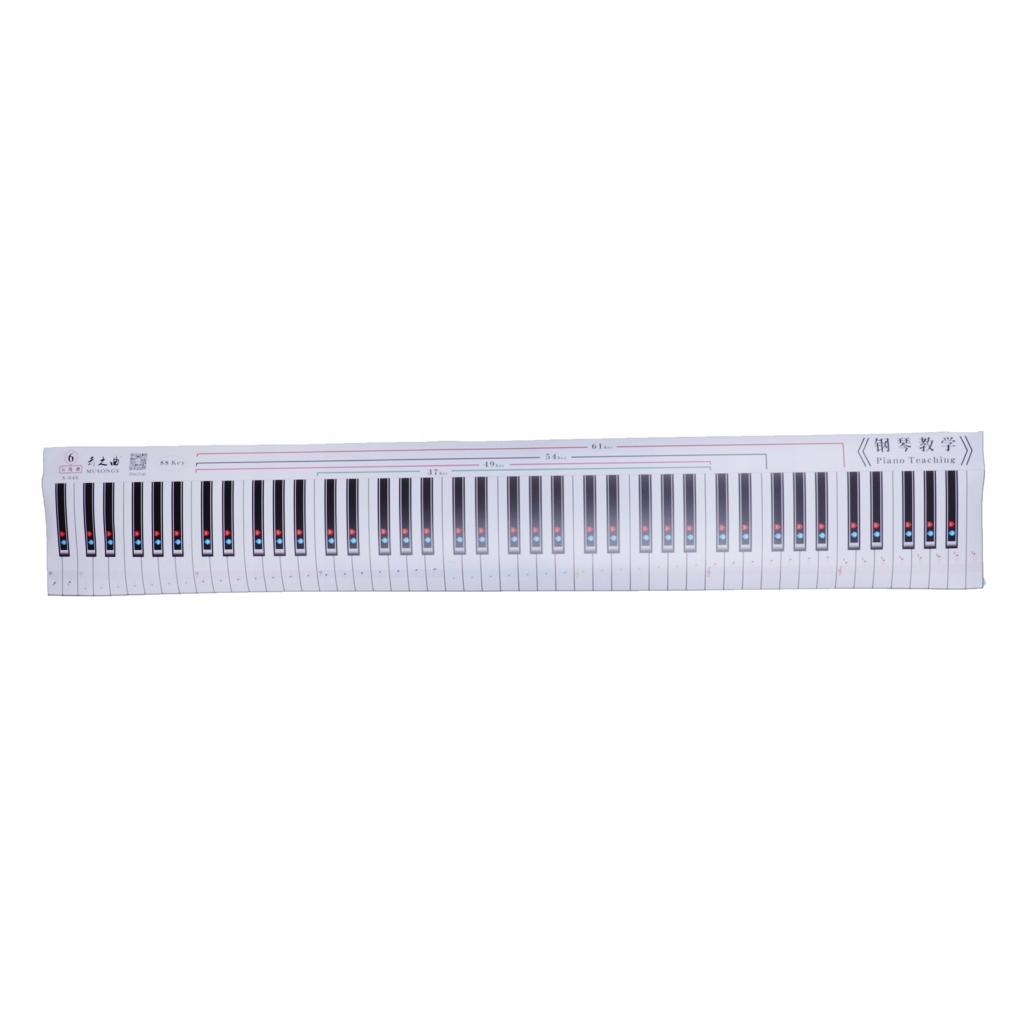 1 x karta ćwiczeń na klawiaturze fortepianu Biały