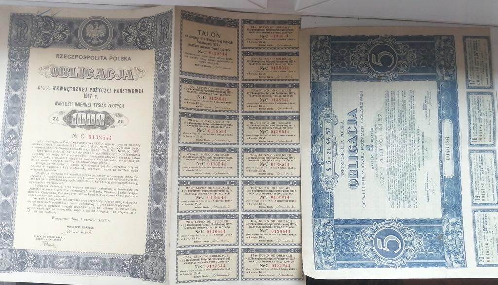 OBLIGACJA 1000 ZŁOTYCH 1937 oraz 5 DOLARÓW 1931