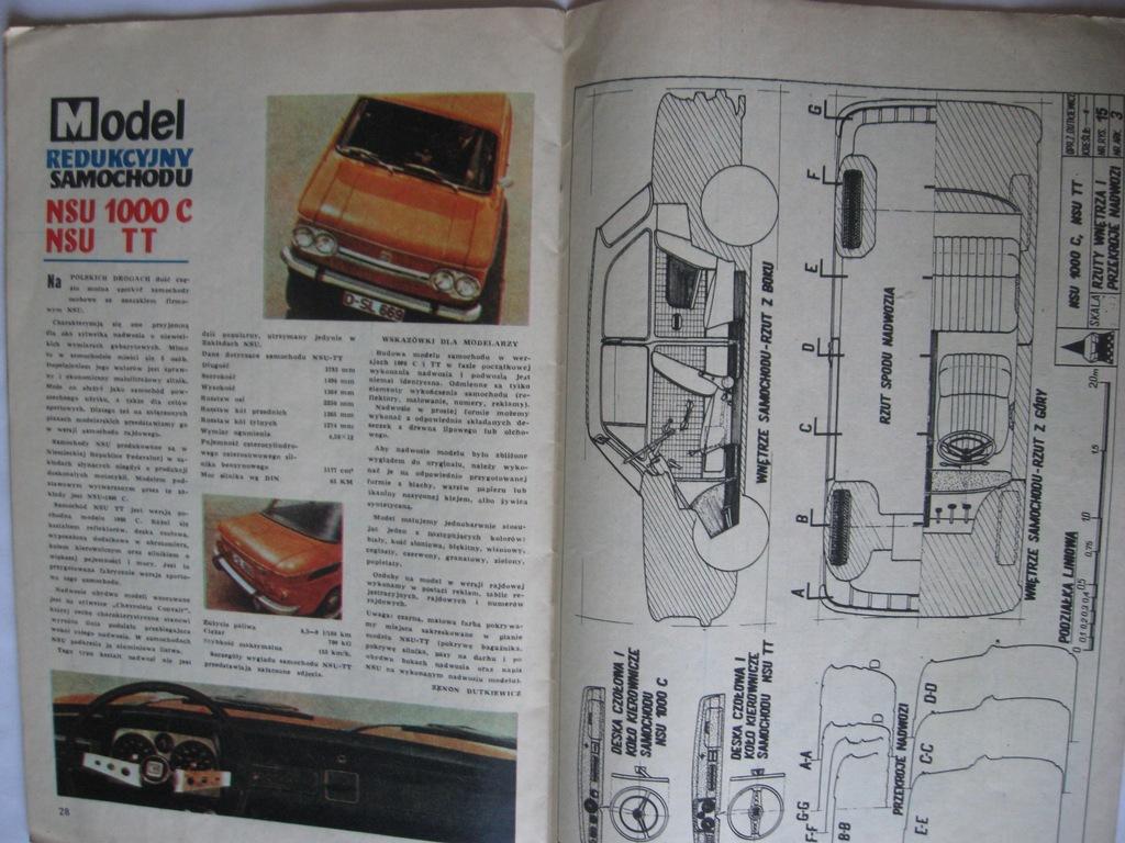 MODELARZ NSU 1000 C i NSU TT Plan 1972