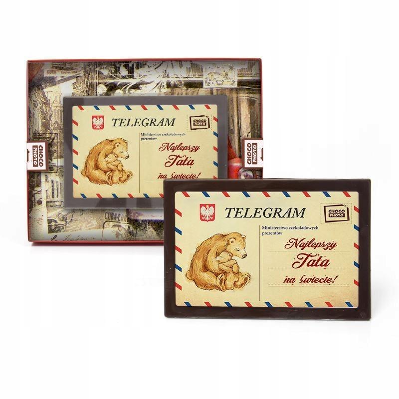 Telegram z czekolady dla najlepszego Taty na świec