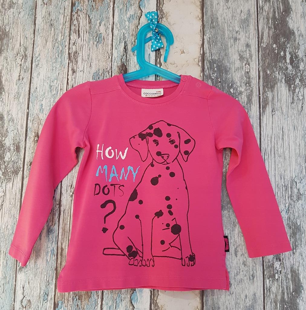 Coccodrillo super bluzeczka r.98 różowa piesek