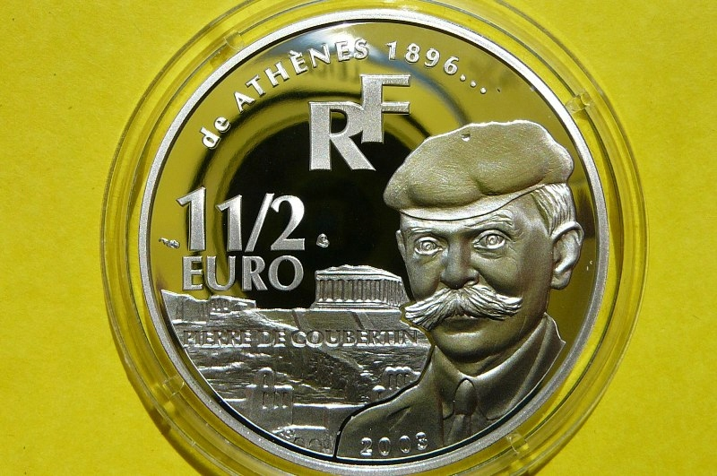 1,5 EURO FRANCJA PIERRE DE COUBERTIN ATENY 1896 Ag