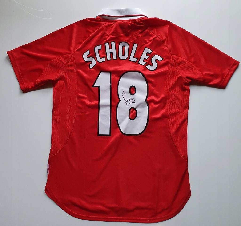 Scholes, Manchester U. - kos. z autografem (zag)
