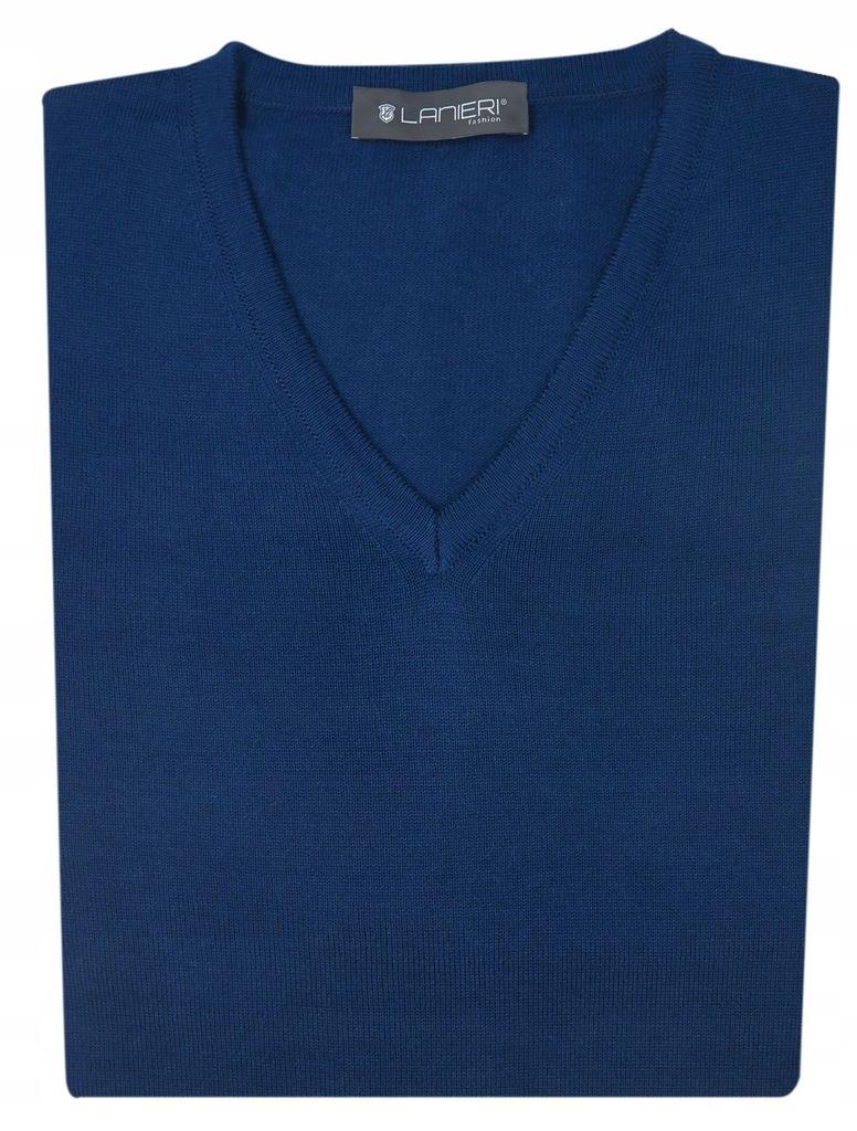 Granatowy sweter męski w szpic SW3 XXL Lanieri
